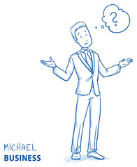 Clueless young man in business suit spreading his arms with thought bubble. Hand drawn line art cartoon vector illustration.