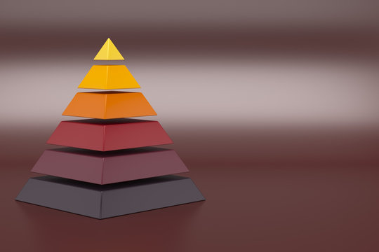 Conceptual 6 layers hierarchy pyramid.3D illustration