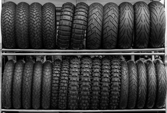 Motorcycle tires on rack store