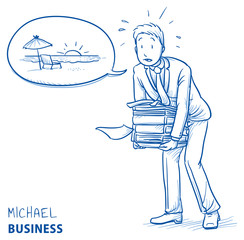 Exhausted young man in business suit carrying a heavy pile of documents and talking about vacation. Hand drawn line art cartoon vector illustration.