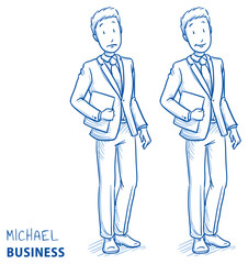 oung man in business suit holding a book or files in two emotions happy and surprised. Hand drawn line art cartoon vector illustration.