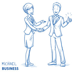Happy young man in business clothes showing thumb up and shaking hands with a business woman. Hand drawn line art cartoon vector illustration.