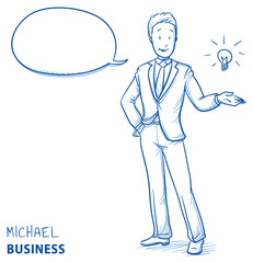 Happy young man in business suit pointing upwards to light bulb, concept for idea. Hand drawn line art cartoon vector illustration.