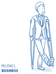 Sad young man in business clothes with broken leg and crutches. Hand drawn line art cartoon vector illustration.