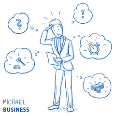 Confused young man in business suit holding a letter or document, looking concerned. Hand drawn line art cartoon vector illustration.