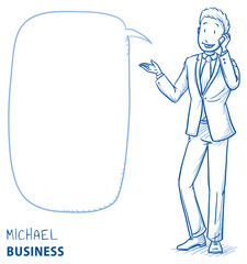 Happy young man in business suit talking on the phone with speech bubble. Hand drawn line art cartoon vector illustration.