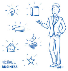 Happy young man in business suit holding hand up for presenting something (with icons for product packaging, house, idea, card, money, star). Hand drawn line art cartoon vector illustration.