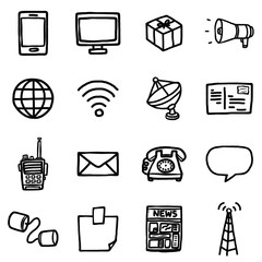 communication objects or icons set/ cartoon vector and illustration, hand drawn style, isolated on white background.