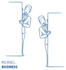 Happy and interested young man in business suit peering behind a wall in two emotions. Hand drawn line art cartoon vector illustration.