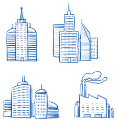 Set of different office and industry buildings, high rise, tower, factory. Hand drawn cartoon vector illustration.