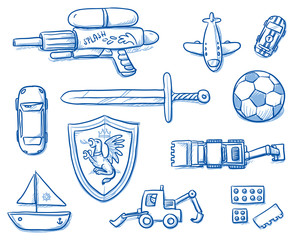 hildren toys icons flat lay, sword, shield, ball, airplane, water gun, bricks, boat, car, excavator. Hand drawn cartoon vector illustration.