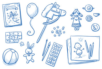 Children toys icons flat lay girls, fairy tale, puzzle, horse, colors, pens, brush, ball, doll, balloon. Hand drawn cartoon vector illustration.