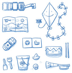 Children toys icons flat lay, kite, books, music instruments, car, sand bucket, excavator. Hand drawn cartoon vector illustration.