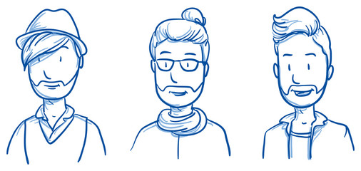 People collection men. Set of three happy young hipster men in casual clothes, expressing positive emotions. Hand drawn line art cartoon vector illustration.
