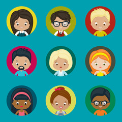 Avatar vector icons set for website. Males and females.