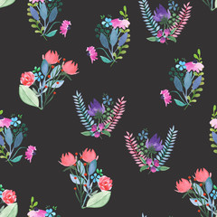 Seamless pattern with the simple watercolor floral bouquets, hand drawn on a dark background