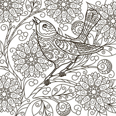vector, contour, illustration, abstraction, blooming branch, bird on a branch, floral, element for design, coloring book, doodle style