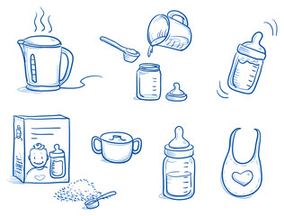 Set of different icons or steps for preparing baby milk / baby food. With baby bottle, milk powder, kettle, bib, water. Hand drawn cartoon vector illustration.