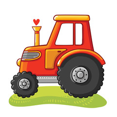 Cute tractor in a clearing. Tractor rides on the field on a white background. Vector illustration in cartoon style.