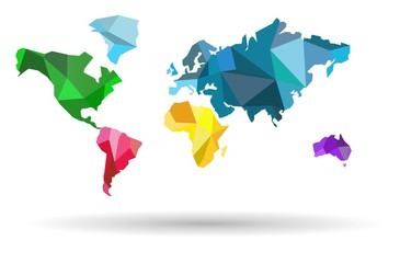 World map-countries colofful on the white background