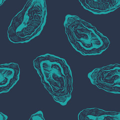 Oysters vintage vector pattern.