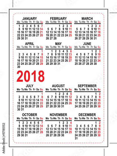 Quot Grid Pocket Calendar 2018 Quot Stock Image And Royalty Free