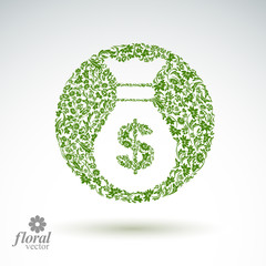 Money bag vector stylized icon, floral banking theme icon. Busin