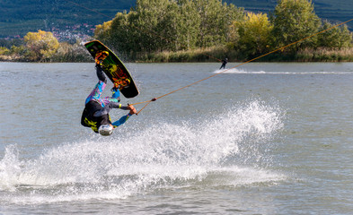 Wakeboarder in the cable park Merkur, South Moravia, Czech Republic