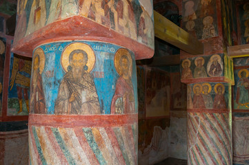 Decorative architecture elements and paintings with Bible scenes in the interior of Church of Simeon the God Receiver in Zverin Monastery, Veliky Novgorod, Russia