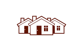 Simple cottages vector illustration, country houses, for use in