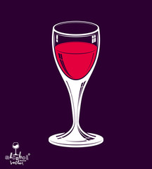 Realistic 3d wineglass placed over dark background, beverage the