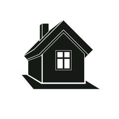 Simple mansion icon isolated on white background, vector abstrac