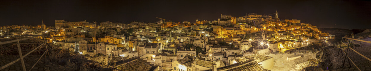 Panoramic nocturnal view of Matera, Italy