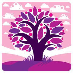 Fruity tree with ripe apples placed on stylized purple backgroun
