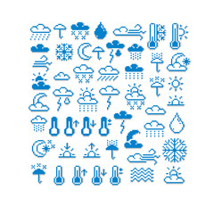 Vector pixel icons isolated, collection of 8bit meteorology grap