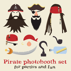 Vector set of pirate elements. Pirate photo booth props collection. Pirate dreadlocks, beards, mustaches, eyebrows, hats, bandanas, noses, eye patches, hook, sword, pipe, save bottle