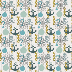Seamless pirate theme pattern, vector background with skulls, anchors, bombs and helm