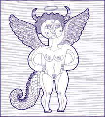 Vector black and white illustration of mythic creature, nude wom