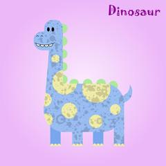 Monster for children, funny happy dinosaur drawing, vector illustration
