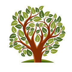 Vector illustration of tree with leaves and branches in the shap