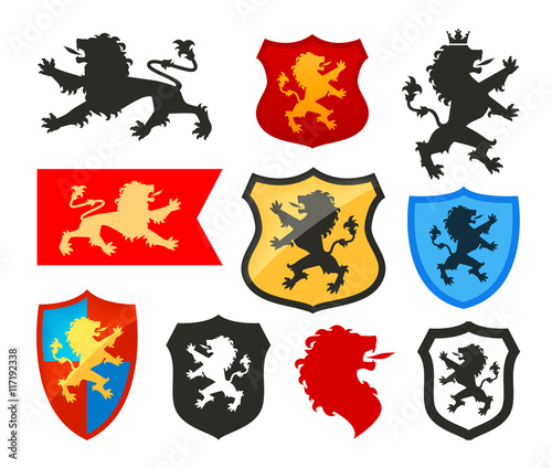 quotshield with lion heraldry vector logo coat of arms