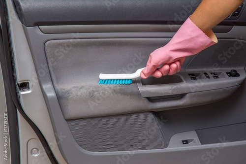 car interior dirty textile door cleaning with professionally brush early spring cleaning or. Black Bedroom Furniture Sets. Home Design Ideas
