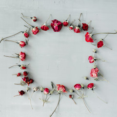 flat lay frame with red roses, branches, leaves and petals isolated on grey concrete background. top view