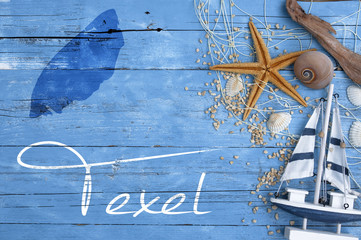 Maritime Postkarte mit Nordseeinsel Texel Tessel Wall mural
