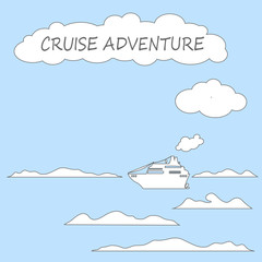 Cruise ship in sea flat style vector illustration.