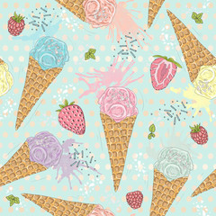 Cute seamless pattern with ice creams, strawberries and raspberr