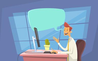 Business Man Office Workplace Desktop Computer Send Message Internet Texting Chat Communication