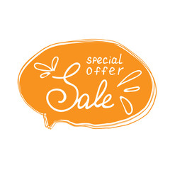 Sale special offer lettering with handwritten frame. Sketch style. Can use for poster or label, shop and market. Vector illustration.