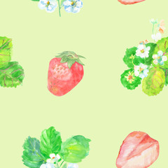 watercolor seamless pattern with red strawberries