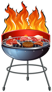 Different types of meat on the grill